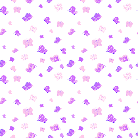 Pink And Purple Butterfly Meadow Small Print fabric by free_spirit_designs on Spoonflower - custom fabric