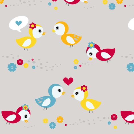 A liL' Birdy Told Me! - Sweet Birds of Summer - Summer Party - © PinkSodaPop 4ComputerHeaven.com fabric by pinksodapop on Spoonflower - custom fabric