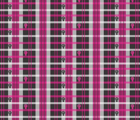 Pink Feminist Plaid fabric by ronnyjohnson on Spoonflower - custom fabric