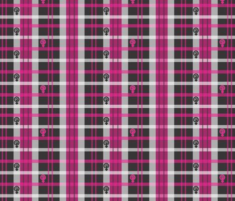 Pink Feminist Plaid fabric by ronnyjohnson on Spoonflower - custom fabric