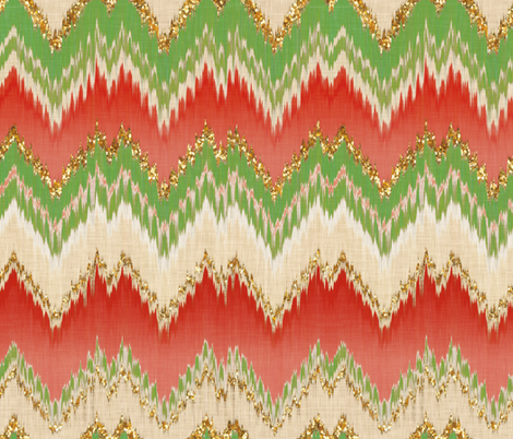 Yuletide Glitter Ikat Chevron fabric by willowlanetextiles on Spoonflower - custom fabric