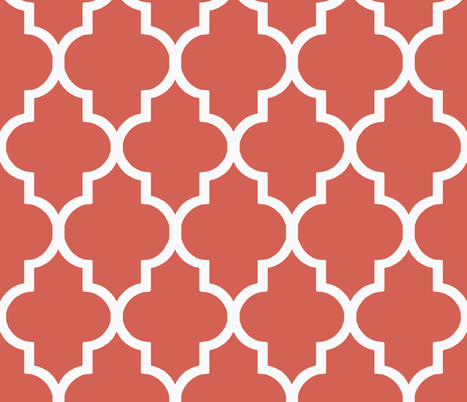 Deep Coral Ogee fabric by sparrowsong on Spoonflower - custom fabric