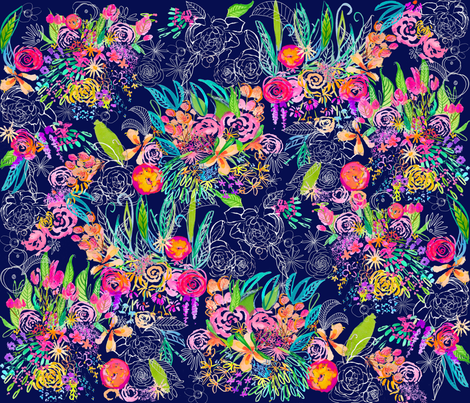 Neon Night Floral Garden fabric by theartwerks on Spoonflower - custom fabric