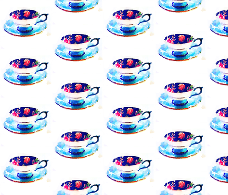 Watercolor Floral Teacup in Royal blue and Turquoise fabric by theartwerks on Spoonflower - custom fabric