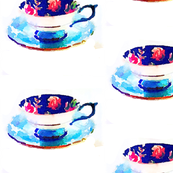 Watercolor Floral Teacup in Royal blue and Turquoise