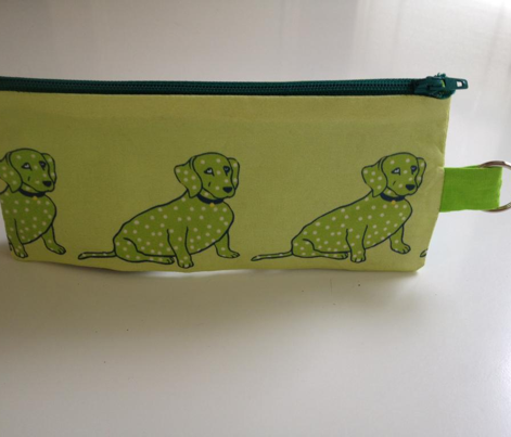 Super Cute Lime Green Spotted Wiener Dog on Pastel Yellow
