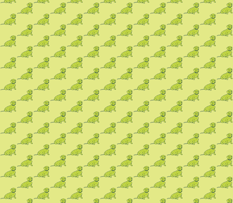Super Cute Lime Green Spotted Wiener Dog on Pastel Yellow fabric by theartwerks on Spoonflower - custom fabric