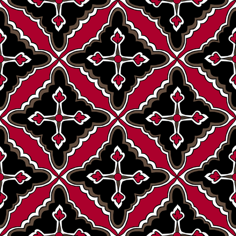 Floral Tile: Red Clay fabric by pond_ripple on Spoonflower - custom fabric