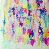 Colorful Abstract Painting in Brights and Neon