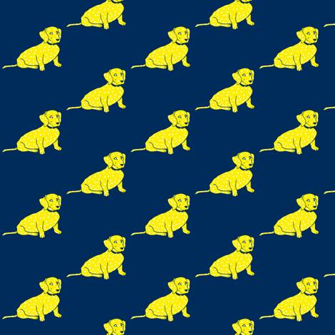 Yellow Wiener Dog on Navy fabric by theartwerks on Spoonflower - custom fabric