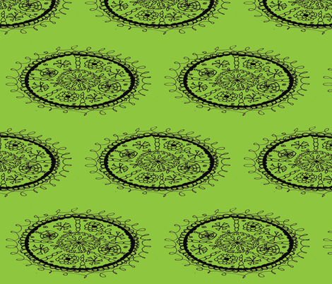 Whimsical Floral Pattern Green Oval fabric by artthatmoves on Spoonflower - custom fabric