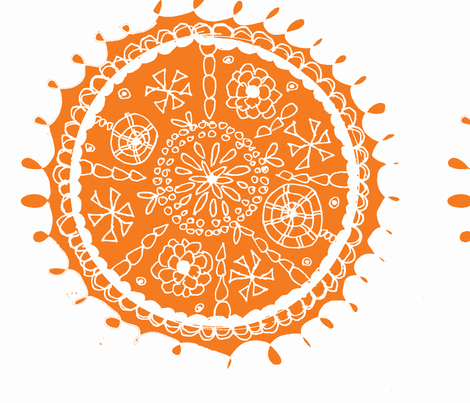 Folk inspired Orange Flower