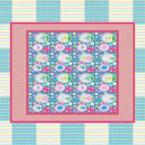 Easter Birdies One Yard Cheater Quilt