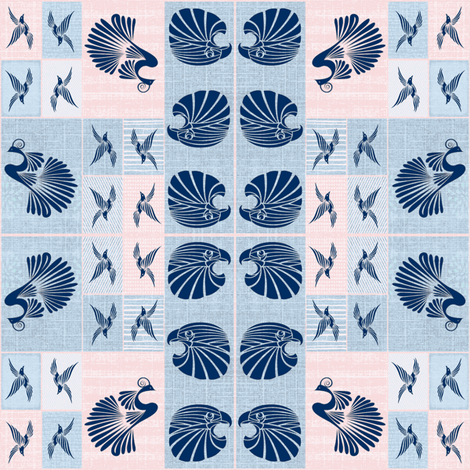 Tribal Bird Quilt (Denim) fabric by ravynscache on Spoonflower - custom fabric
