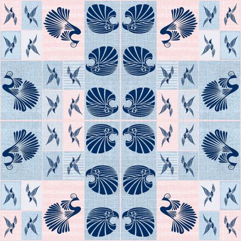 Tribal Bird Quilt (Denim) fabric by ravynscache on Spoonflower - custom fabric