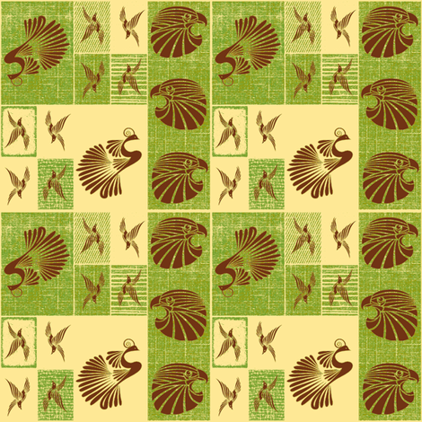 Tribal Bird Quilt (Olive) fabric by ravynscache on Spoonflower - custom fabric