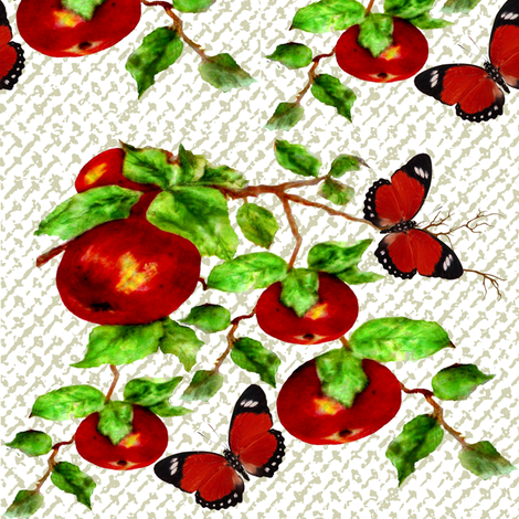 Butterflies and Apples on linen fabric by paragonstudios on Spoonflower - custom fabric
