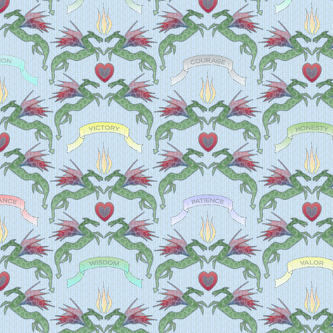 dragon_damask_maiden_eyes fabric by glimmericks on Spoonflower - custom fabric