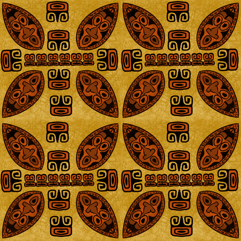 Brown Tiki Shield fabric by gene_s_morgan on Spoonflower - custom fabric