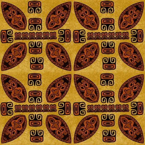 Brown Tiki Shield fabric by gene_s_morgan on Spoonflower - custom fabric