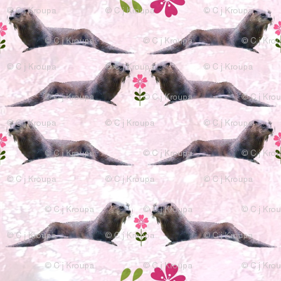 Otters with Flowers (Pink Water)