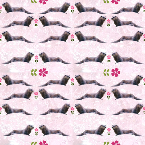 Otters with Flowers (Pink Water) fabric by ravynscache on Spoonflower - custom fabric