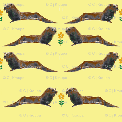 Otters with Flowers (Yellow)