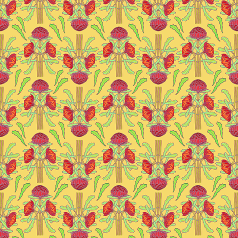 Spring waratahs on butter yellow fabric by su_g on Spoonflower - custom fabric