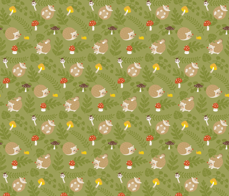 Hedgehogs and mushrooms fabric by macywong on Spoonflower - custom fabric