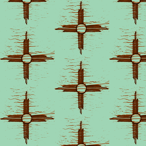 Sun mint and rust  fabric by darci on Spoonflower - custom fabric