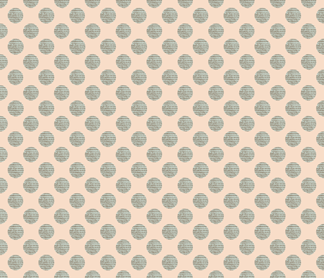 Green Polka Dots on Peach fabric by karenharveycox on Spoonflower - custom fabric