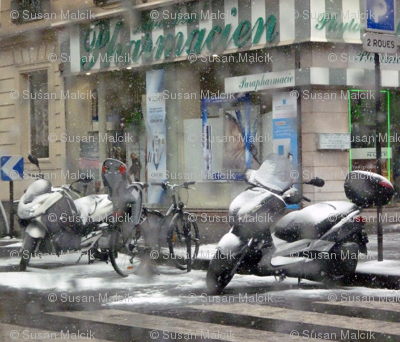 Motorcycles in the Snow on March 12 in Paris