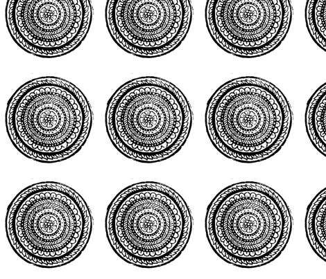 Black and White Circular Woodblock Flower fabric by artthatmoves on Spoonflower - custom fabric