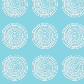 Circular Woodblock Floral Pattern in Blue and White