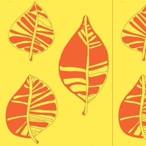 Sunny yellow stylized leaf