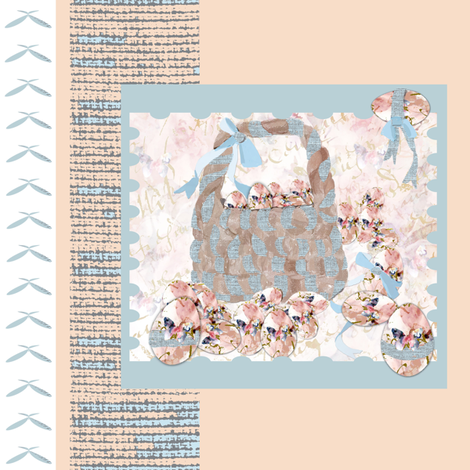 Peach and Powder blue Easter fabric by karenharveycox on Spoonflower - custom fabric