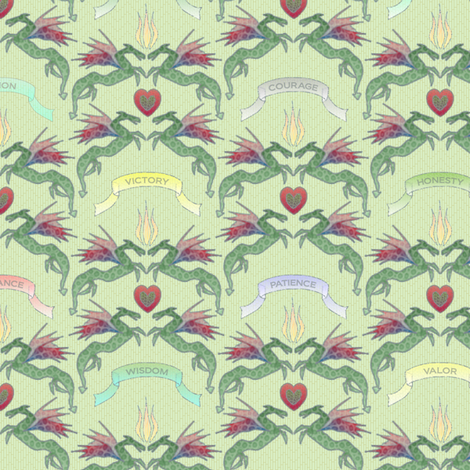 dragon_damask_mint fabric by glimmericks on Spoonflower - custom fabric