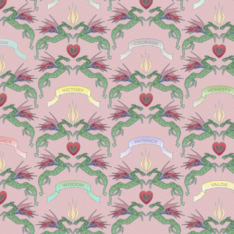 dragon_damask_blush fabric by glimmericks on Spoonflower - custom fabric