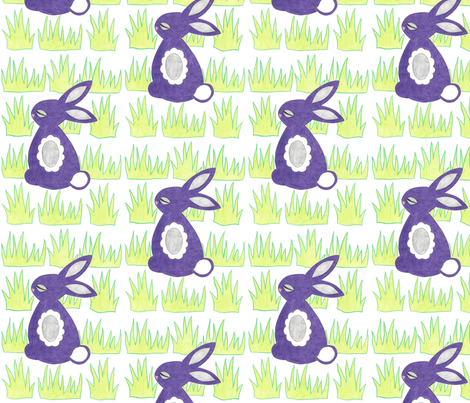 Purple Bunny fabric by lettie_belle on Spoonflower - custom fabric