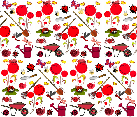 I LOVE MY GARDEN fabric by bluevelvet on Spoonflower - custom fabric