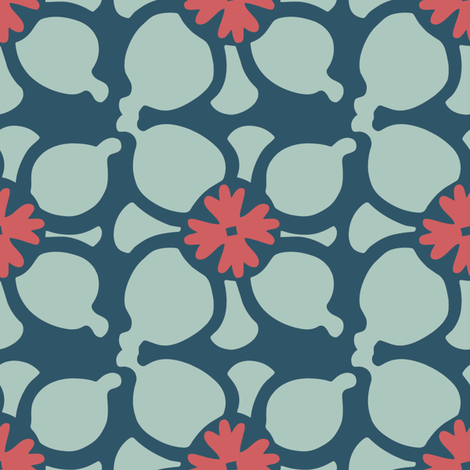 Flower Combo Dark Blue fabric by kathyjuriss on Spoonflower - custom fabric
