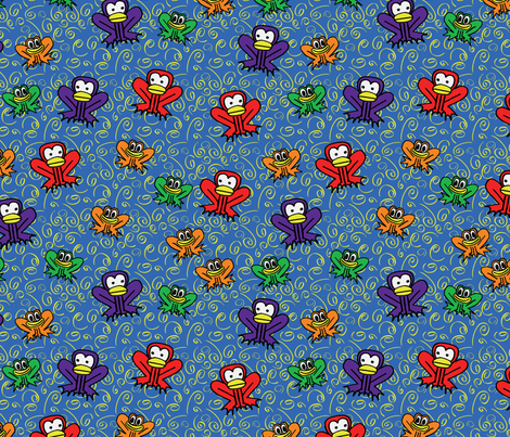 z3 - Frogs in Blue  fabric by henriyoki on Spoonflower - custom fabric