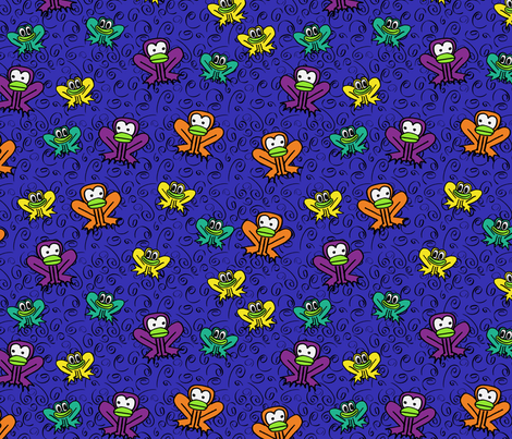 z3 - Frogs in Dark Blue  fabric by henriyoki on Spoonflower - custom fabric