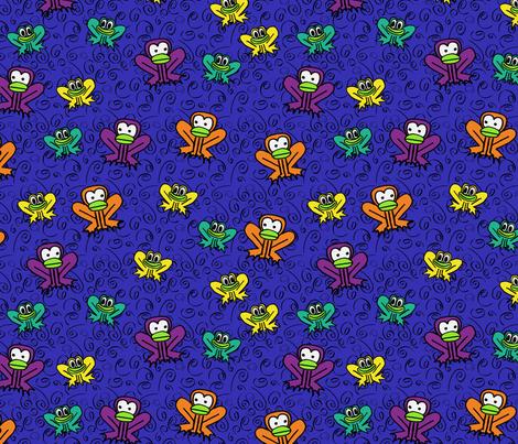 z3 - Frogs in Dark Blue  fabric by henriyoki on Spoonflower - custom fabric