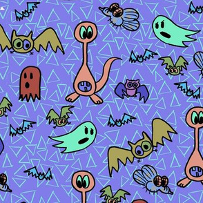 z4 - Spooky Bats and Friends in Purple Blue