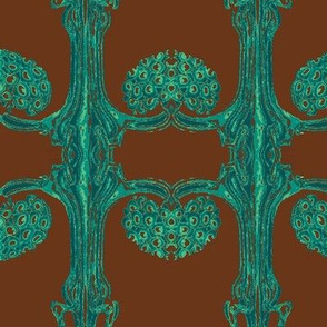 Art Nouveau35-teal/brown