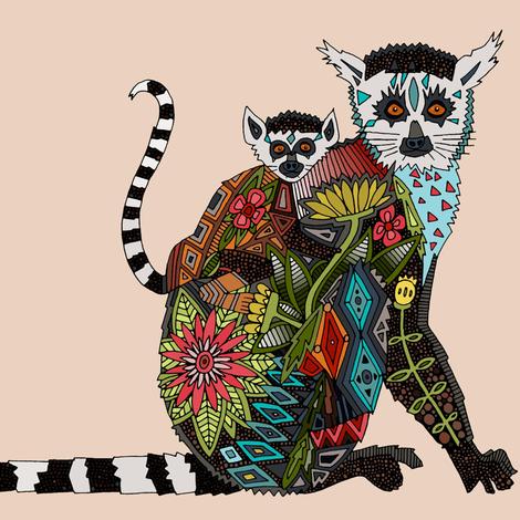 lemur love pale blush fabric by scrummy on Spoonflower - custom fabric