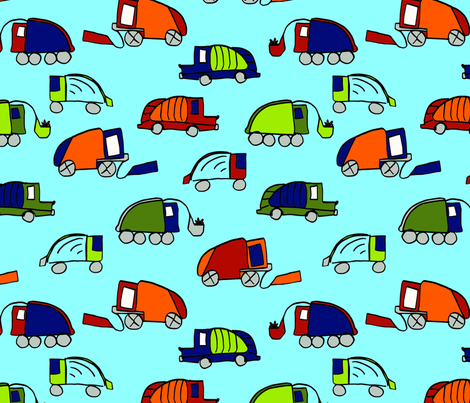LaraGeorgine_Garbage_Trucks fabric by larageorgine on Spoonflower - custom fabric
