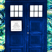 Giant Police Box for Bedding or Curtains (2 YARD SIZE), on Van Gogh's Starry Night Background