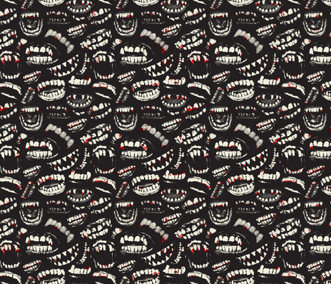 Monster Mouths! With Blood! - Black / Ecru fabric by ben_goetting on Spoonflower - custom fabric